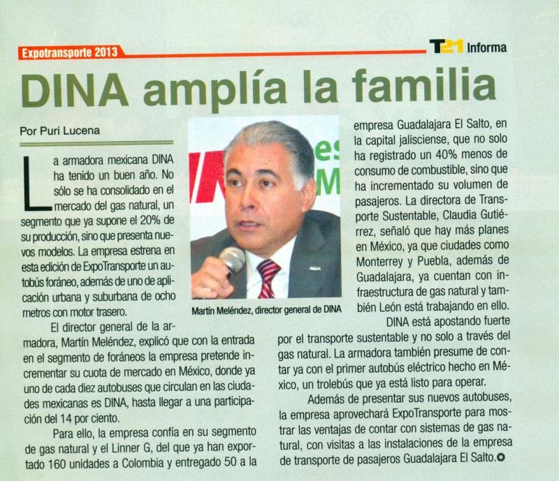 Periódico %22T21 Informa, Suplemento especial de Expotransporte 13 de Noviembre 2013 Pag. 7